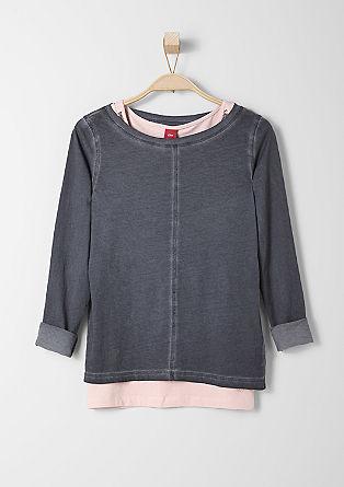 2 in 1-Shirt mit Pailletten-Top