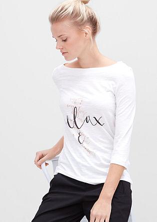 3/4-Shirt mit edlem Schriftzug