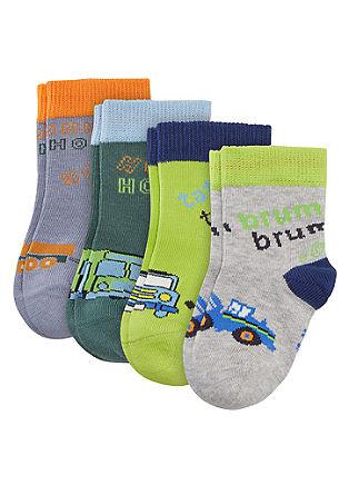 4er-Pack Baby-Socken mit Motiv