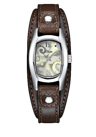 Armbanduhr mit breitem Lederband