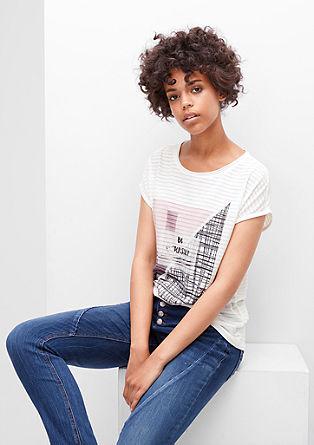 Ausbrenner-Shirt mit Print