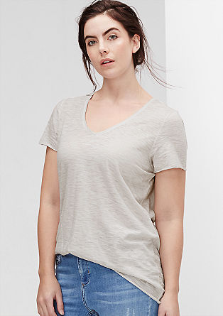 Ausbrenner-Shirt mit V-Neck