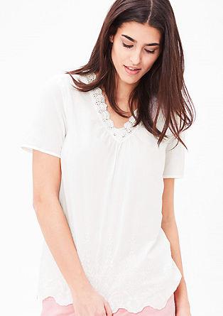 Batist-Bluse mit Spitze