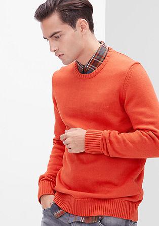 Baumwoll-Pullover mit Bündchen