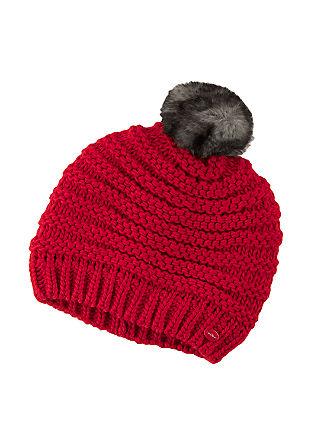 Beanie with a fake fur pompom from s.Oliver