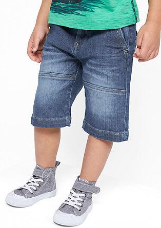 Bermuda jeans hlače z okrasnimi šivi