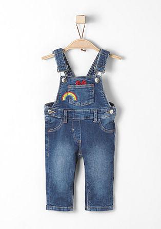 Bestickte Jeans-Latzhose