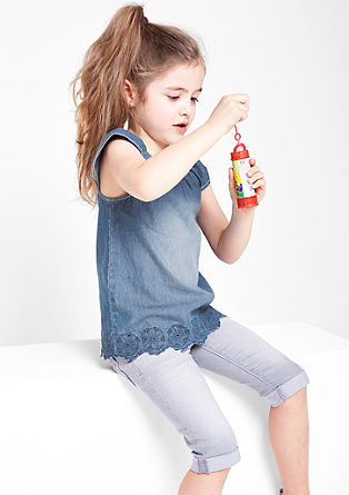 Besticktes Jeans-Blusentop