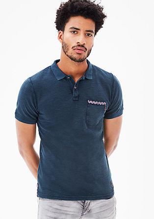 Besticktes Poloshirt mit Allover-Textur