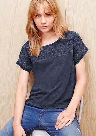 Besticktes Shirt in Denim-Optik