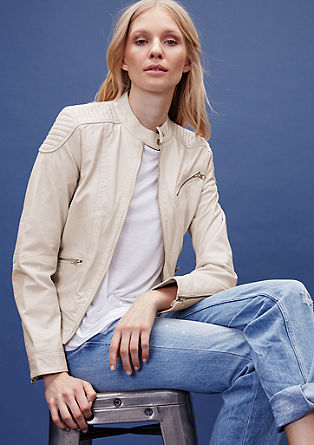 Biker jacket in coloured genuine leather from s.Oliver