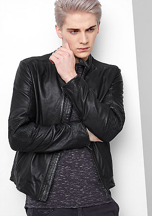 Biker jacket in soft genuine leather from s.Oliver