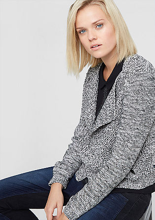 Biker-style cardigan in a mixed knit from s.Oliver
