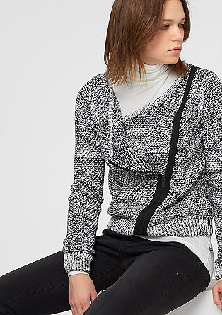 Biker-style cardigan in a waffle knit from s.Oliver