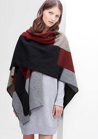 Blanket-Poncho aus Wollmix