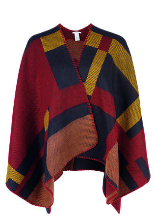 Blanket-Poncho in Colorblocking