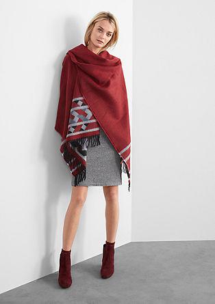 Blanket-Poncho mit Ethno-Muster
