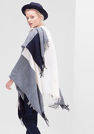 Blanket-Poncho mit Fransen