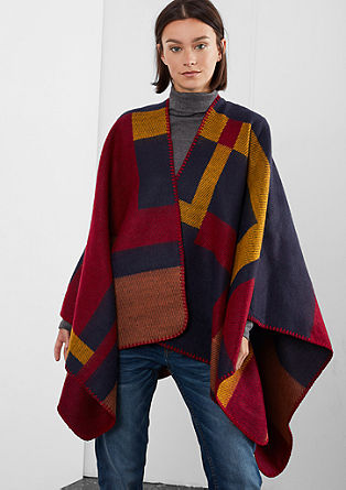 Blanket poncho with colour blocking from s.Oliver