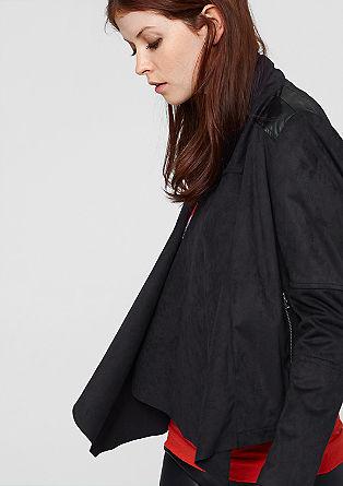 Blazer-Jacke im Leder-Look-Mix