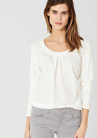 Blouse top with a crêpe front from s.Oliver
