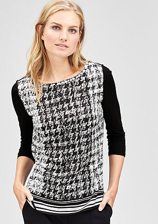 Blouse top with a houndstooth pattern from s.Oliver