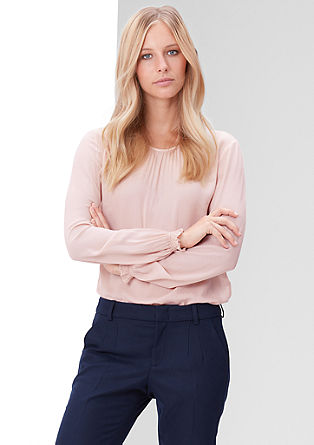 Blouse top with a jacquard pattern from s.Oliver