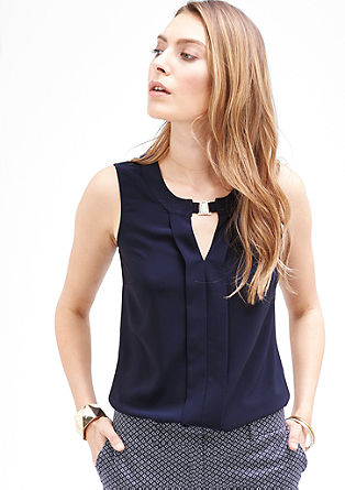 Blouse top with a metal clasp from s.Oliver