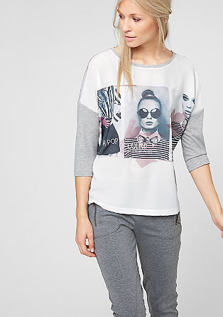 Blouse top with a photo print from s.Oliver
