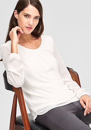 Blouse top with a sheer effect from s.Oliver