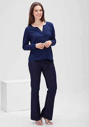 Blouse top with crepe front from s.Oliver