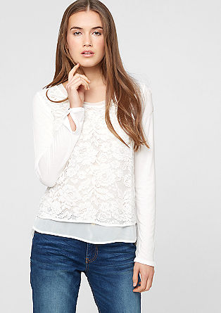 Blouse top with lace and chiffon from s.Oliver