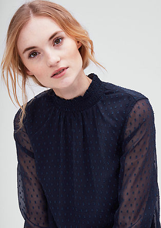 Blouse with a band collar, in chiffon from s.Oliver