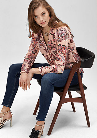 Blouse with a draped collar from s.Oliver