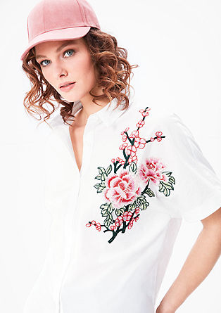 Blouse with a floral appliqué from s.Oliver