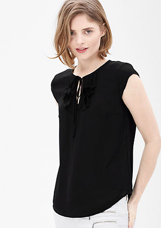 Blouse with a flounce neckline from s.Oliver