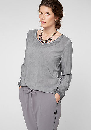 Blouse with a garment-washed effect from s.Oliver