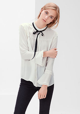 Blouse with a ruffle collar and lace from s.Oliver