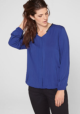 Blouse with an imitation leather collar from s.Oliver