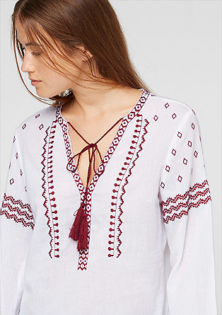 Blouse with ethnic embroidery from s.Oliver
