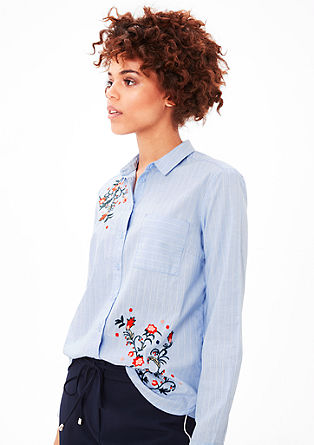 Blouse with floral embroidery from s.Oliver