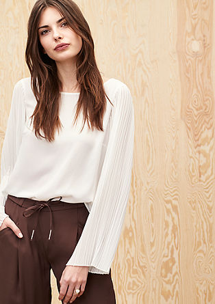 Blouse with pleated sleeves from s.Oliver