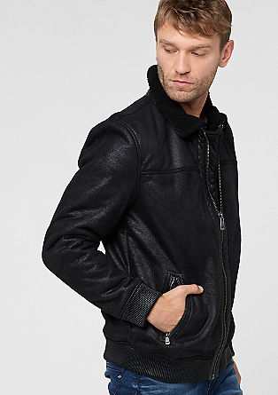 Blouson-Jacke in Veloursleder-Optik