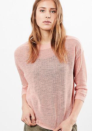 Blusenpullover mit Strick-Front