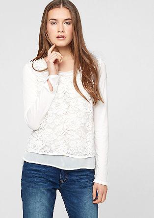 Blusenshirt mit Spitze und Chiffon