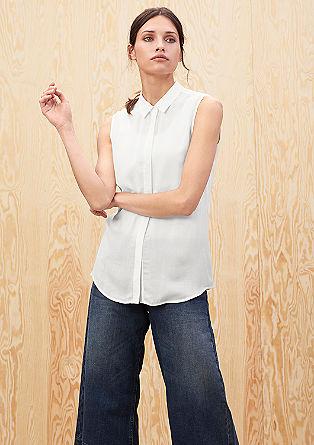 Bluza brez rokavov iz viskoznega krepa