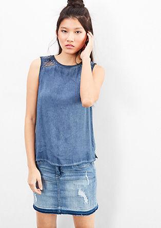 Bluza brez rokavov s posebnim učinkom barvnega pranja