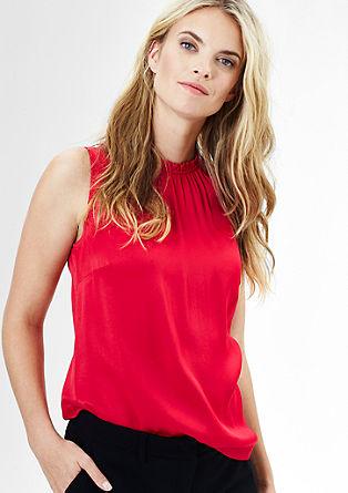 Bluza brez rokavov z nabranim ovratnikom