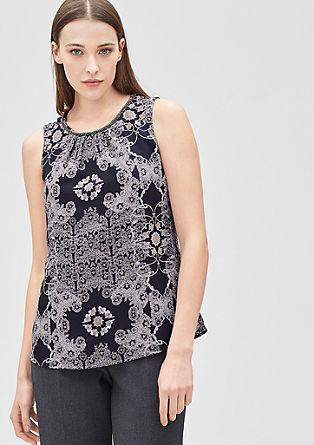 Bluza brez rokavov z okrasnimi biseri