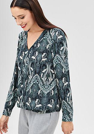Bluza iz krepa s potiskom po vsej površini
